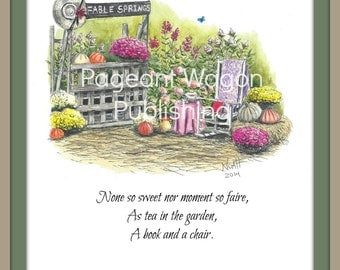 Limited Edition Art Print: Tea in the Garden from Fable Springs Parables