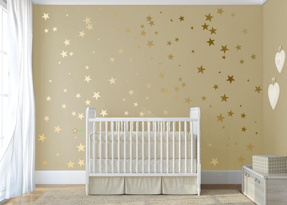 gold confetti stars stick on wall art gold vinyl wall decal. Black Bedroom Furniture Sets. Home Design Ideas