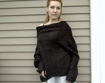 Loose Knit Sweater Chocolate Sweater Off the Shoulder Sweater Brown Tunic by JMSTYLE