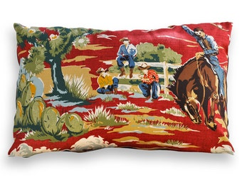 Ride 'Em Cowboy Reversible Lumbar Pillow Cover - Southwest, Western, Cowboy, Wild West, Rodeo, Lodge, Cabin, Camp or Rustic Décor