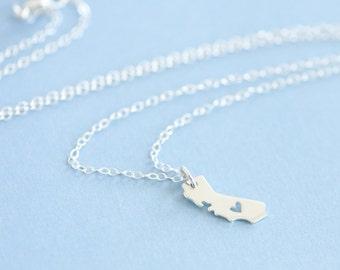 California Necklace, Sterling Silver California Heart Necklace, State Necklace, Love Necklace