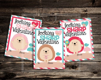 Hedgehog Valentine Cards - Instant Download - Valentine's Day Digital Printable