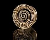 SHANOA Dotted Spiral Brass Ear Plug - Tunnel, Brass plugs, Gauge jewelry ,Ear gauge jewelry,Tribalik, Eyelets (code 7)