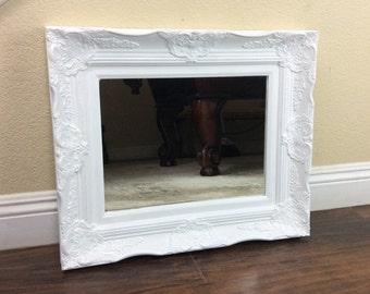 White Baroque Floor Mirror