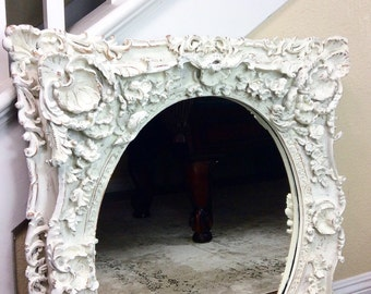 GORGEOUS WHITE MIRROR, Ornate Mirror, Oval Mirror,  Vanity Mirror, Wedding Decor, Nursery Decor, Cottage Chic Mirror, Wall Mirror, Shabby