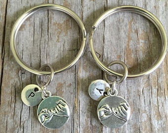 Pinky Swear 2 Keychains/ Double Pinky Promise Key Chains/ Pinky Key Rings/ Two Secret Friends Key Rings/ Initial Pinky Swear Keychains
