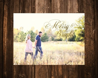 Merry & Bright Holiday Christmas Card; Photo; Printable or set of 10