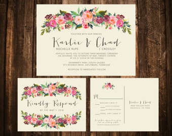Romantic Bold Floral Wedding Suite; Bohemian, Whimsical,