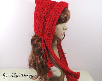 Crochet Pixie Hat, Simply Hooded Scarf, Red Crochet Hat by Vikni Designs