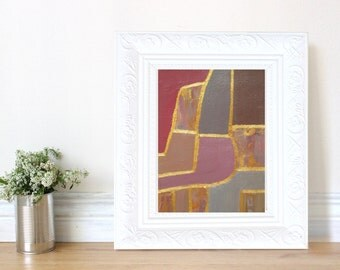 Abstract Original Small Acrylic Painting, Modern Fine Wall Art, Brown, Gold, Mauve, Burgundy Contemporary Home Decor