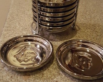 Vintage Mid Century Modern Guardian Service Ware hostess gift made by Kimiko, 8 chrome silver glass coasters with chrome rack