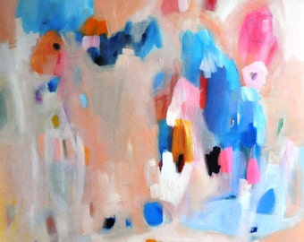 Large Original Painting Abstract Blue Pink Peach