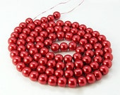 """Glass Bead Strand, Pearlized, Round, Dyed, Fire Brick Red, 6mm, Hole: 1mm; about 140pcs/str, 32""""   #065"""