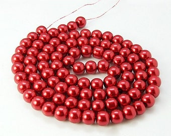 "Glass Bead Strand, Pearlized, Round, Dyed, Fire Brick Red, 6mm, Hole: 1mm; about 140pcs/str, 32""   #065"
