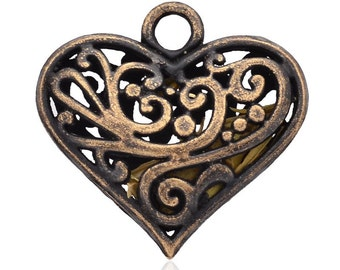 Hollow Heart Pendant - Tibetan Style - Antique Red Copper - Nickel Free, Size About  30x31x11mm, Hole: 4mm  126