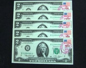 1976 Bicentenial Federal Reserve Notes Vintage 1976 Bicentenial Uncirculated Sequential 5 Bill Set 2