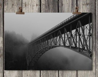 Black & White Deception Pass Fog - Bridge Scene - Washington State - Fine Art Print - Gallery Wrap - Metal Print