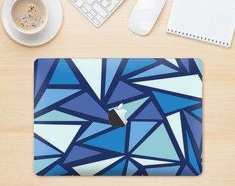 The Large Vector Shards of Blue Bottom Skin Kit for the Apple MacBook Air - Pro or Pro with Retina Display (Choose Version)