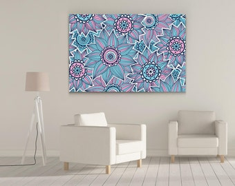 The Pink & Blue Flowered Pattern Gallery-Wrapped Wall Canvas Print