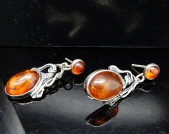 Vintage Sterling Silver/925 Oval Amber Filigree Dangle Drop Earrings