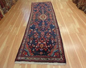 Persian Rug Runner Blue Oriental Rug 3' 4 x 10' 9 Hamedan