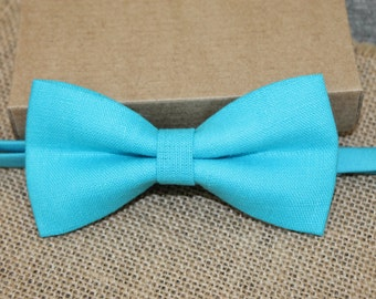 Turquoise Linen Bow Tie,  Pre Tied Bow Tie, Men's Bow Tie, Wedding Groom Vintage Classic
