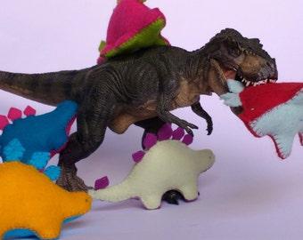 Dinosaur Plushie - Felt Dino - Red with Blue Dinosaur - Felt Plush Dinosaur Toy - Red Dinosaur with Blue Spines - Felt Stuffed Toy