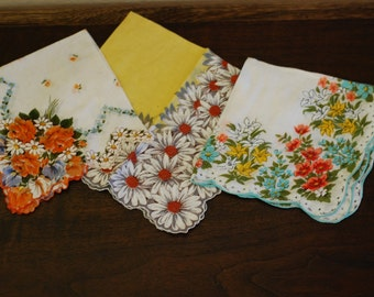 Collection of Vintage Floral Hankies