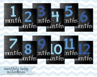 Baby Monthly Chalkboard / Baby's First Year / Shades of Blue / 8x10 DIGITAL Monthly Photo Prop / Printable Milestone Signs / Set of 12