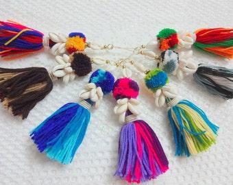 1 PC Cowrie Shell Tassel,Purse & Handbag Decoration,Cowrie Shell Swag,Woolen Tassel,BOHO Decoration - Brown