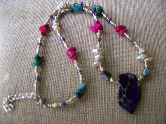 Stone Pendant Necklace,Natural Stone Necklace,Purple pendant,Tribal Jewelry, #111