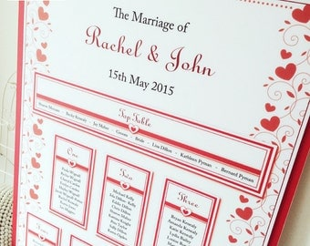 Hearts/Love Wedding Table Plan, Valentine Seating Plan, Seating Chart
