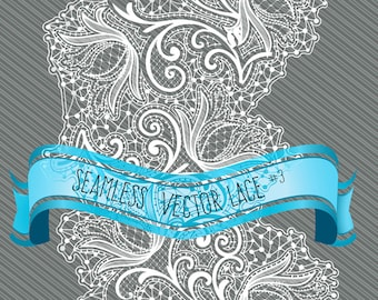 Seamless Lace # 3: Extra Wide Lace in black and White, plus extras.   Vector files (EPS 10 & AI 10) and  PNG