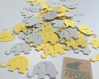 Elephant Table Confetti - Yellow & Grey - Baby Shower/Christening/Birthday