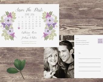 Calendar Save The Date Postcard, Postcard Save the Date, Photograph Save the Date, Custom Personalized, Engagement Announcement - Lexington
