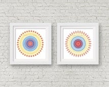 Wall art print set 2 posters southwest room decor geometric art office decor tribal decor coral mandala red blue white yellow kitchen sign