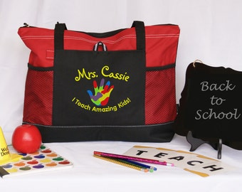 Personalized teacher tote bag,special education, special ED instructor, graduation gift, Autism,appreciation gift,embroidered,side pocket