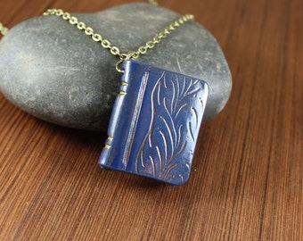 Book Pendant necklace ~ Blue