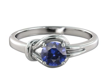 0.50 ctw Blue Sapphire Engagement Ring 14K White Gold Knot  4 prongs Round