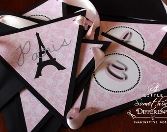Black and Pink Parisian Banner / Pink Damask Banner with Eiffel Tower / Parisian Bridal Shower Banner / French Banner Pink and Black