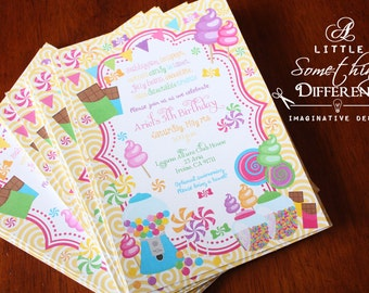 Candy Shop Invitations / Sweet Shoppe Invitations / Candy Themed Invitations / Candy Factory Invitations