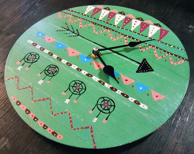 Boho Wall Clock - Primitive Art Decor - Aztec Art - Wood Clock - Wall Decor - Bohemian Home - South Western Decor - Ready to Ship