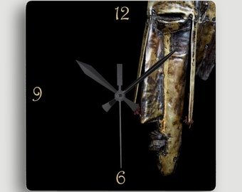 African Art — Square Wall Clock Featuring Portrait of Marka Mask