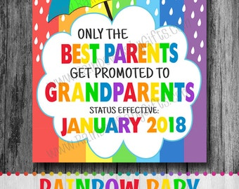 Rainbow Baby Only The Best Parents Get Promoted To Grandparents Pregnancy Announcement Photo Prop Sign, Pregnancy Reveal Sign, PRINTABLE