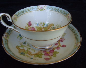 Tuscan Fine English Bone China Cup and Saucer, Tea or Coffee Cup, Old China with Bird and Florals