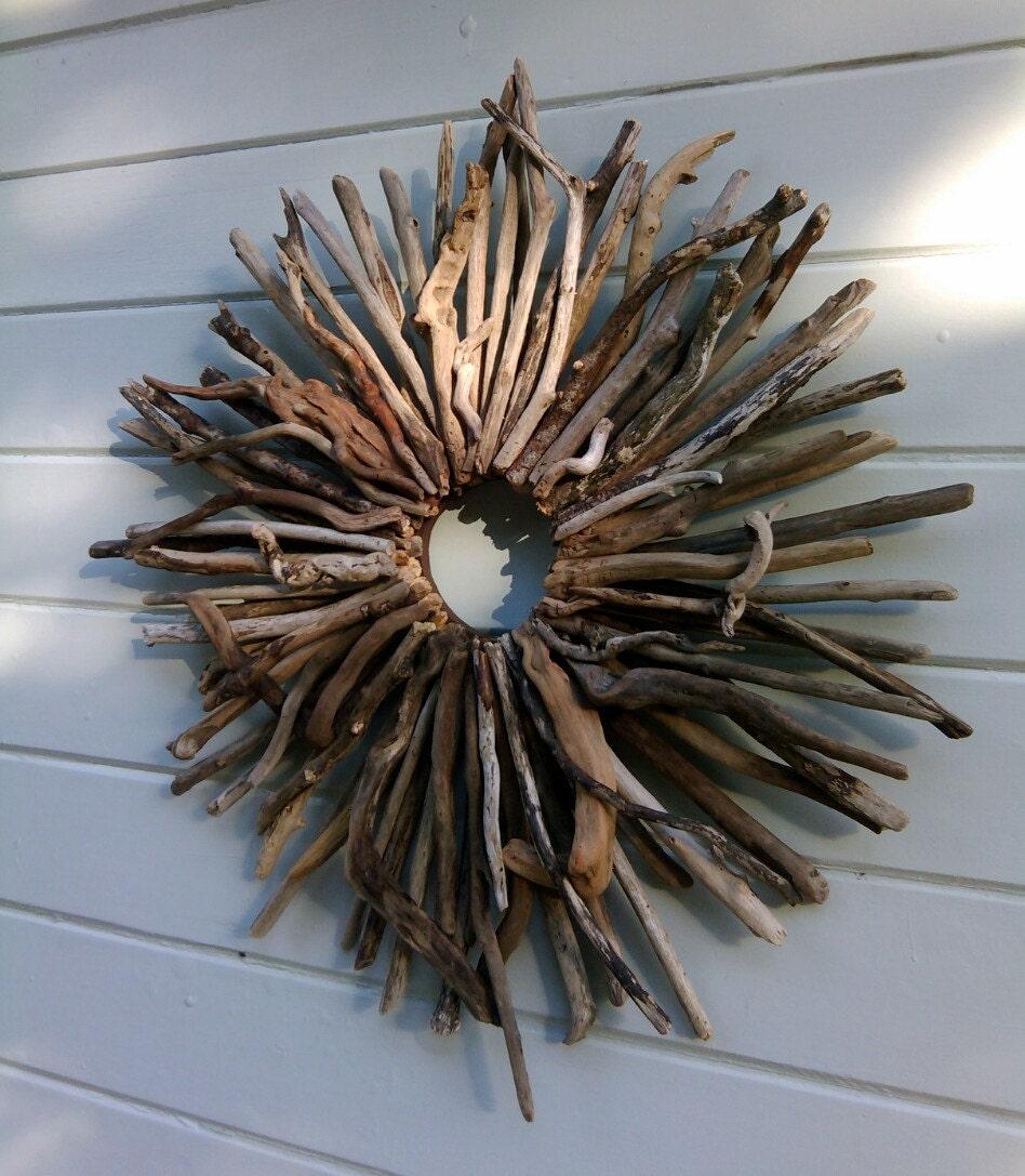 Wreath driftwood art coastal beach decor driftwood wall art for Driftwood wall decor