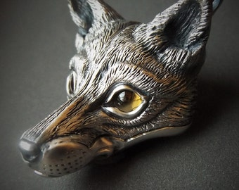 Fox Necklace , silver and citrine pendant.