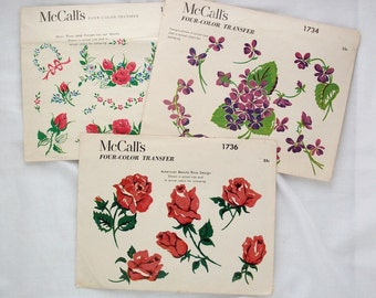 Set of 3 McCall's color transfers floral iron on designs violets roses four color 1950s 1952
