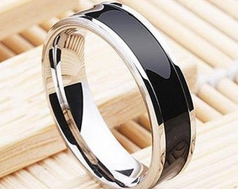 Black Titanium Band Stainless Steel Ring For Men  Size 9 ,  11.5