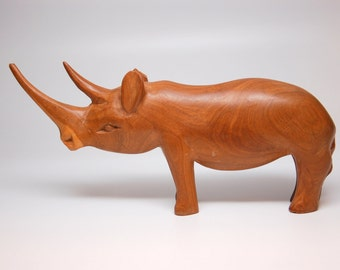Hand Carved Vintage Wood Rhino - Figurine, Sculpture, Toy, Display